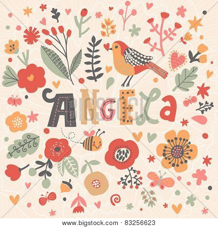 Bright card with beautiful name Angela in poppy flowers, bees and butterflies. Awesome female name design in bright colors. Tremendous vector background for fabulous designs
