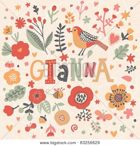 Bright card with beautiful name Gianna in poppy flowers, bees and butterflies. Awesome female name design in bright colors. Tremendous vector background for fabulous designs