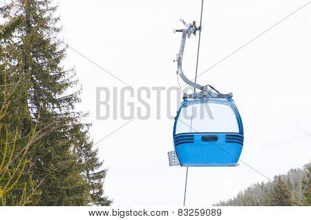 ski lift cabin Bansko ski center blue elevator - Bulgaria poster