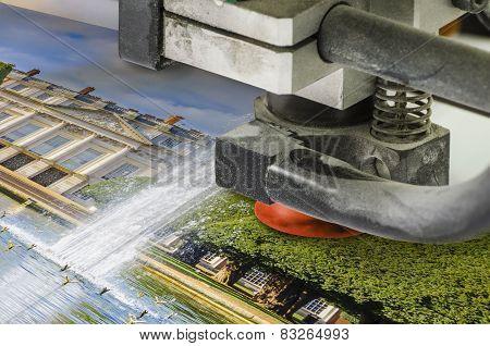Offset printing machine in print shop