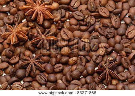 Star Anise with coffee beans macro shot.