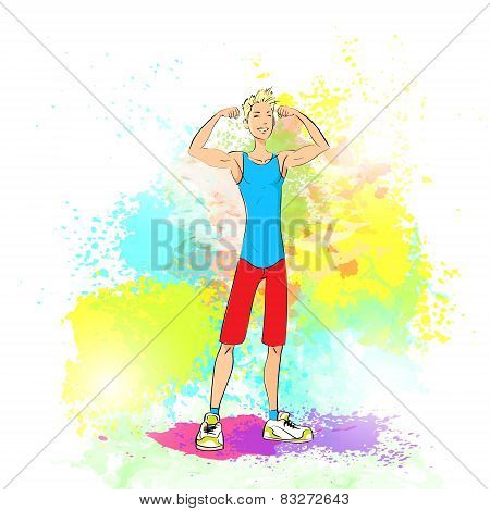 Sport man show bicep muscles fitness trainer over colorful splash