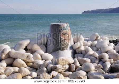 Frozen Tetrapod  And Stones In Winter Day