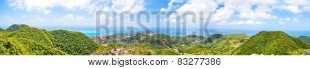 Panorama, Huge Panoramic View Of Providencia Island Of Colombia. Mountain, Reef, Clouds.
