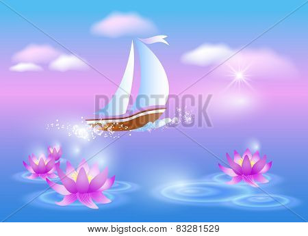 Sailing Boat And Violet Lilies