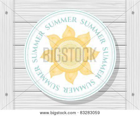 Sun on wooden background