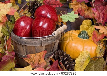 Apples, pumpkins and autumn leaves