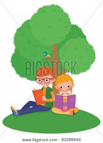 Children Outdoors Reading A Book