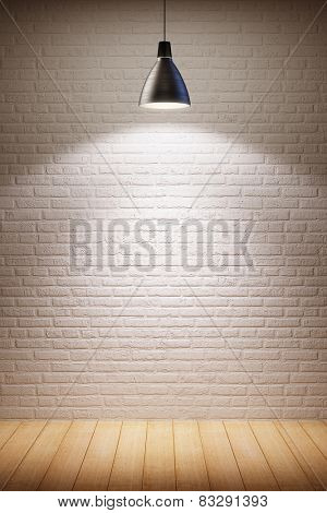 empty room interior with turn on lamp