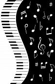 Various music notes with the piano keys poster