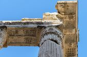 buildings and ruins around marcello theater in rome italy poster
