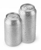 500 ml and 330 ml aluminum beer cans with water drops isolated on white poster