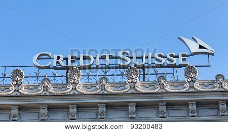 Credit Suisse Logo On The Top Of The Credit Suisse Office