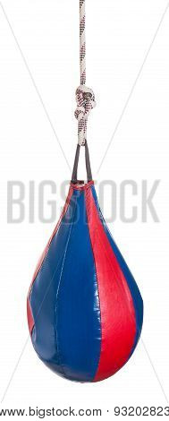 Boxing Punch Bag With Dint Of Blow Isolated