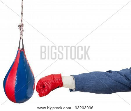 hand gesture - businessman with boxing glove punches punching bag isolated on white background poster