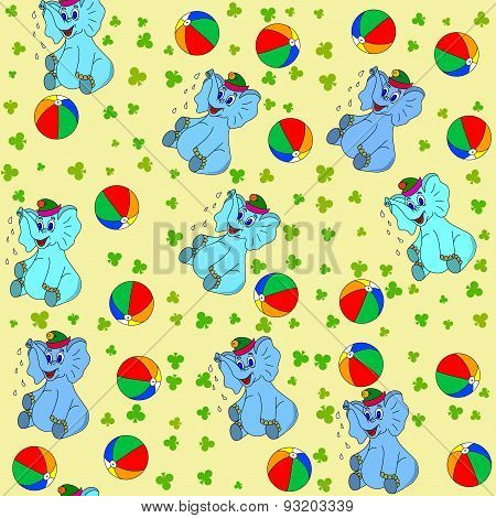Jammies Seamless Pattern Whith Elephant And Ball