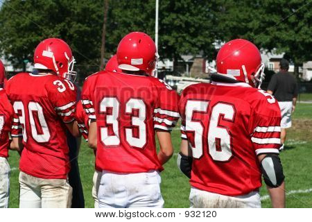 high school football team on side lines poster