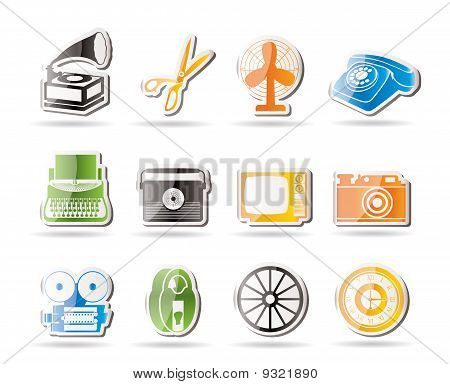 Simple Retro business and office object icons