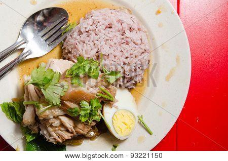Thai Pork Leg Rice With Egg