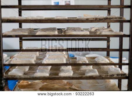 Tray Rack Of Raw Ciabatta Bread Rolls