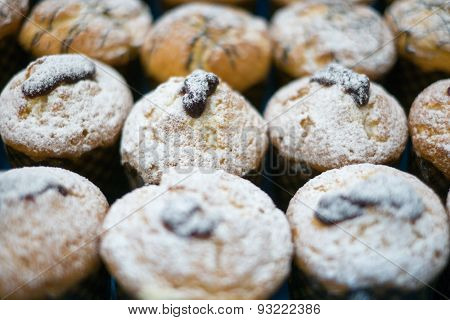 Muffins With Powder Sugar & Jelly