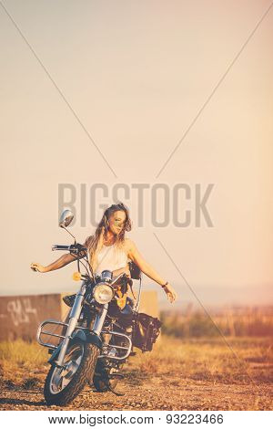 Beautiful Woman On The Motorcycle. Retro Filter