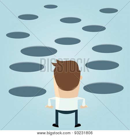 funny cartoon man looking at holes