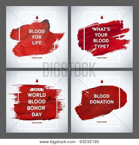 Creative Blood Donor Day Motivation Information Donor Poster Set. Blood Donation. World Blood Donor