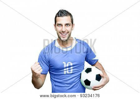 Soccer fan celebrates with blue t-shirt isolated on background