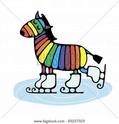 Cheerful Cute Rainbow Zebra Skating