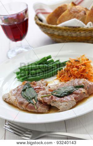 saltimbocca alla romana , sauteed veal prosciutto and sage, italian cuisine