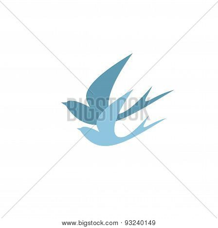 stylized silhouettes of two swallows