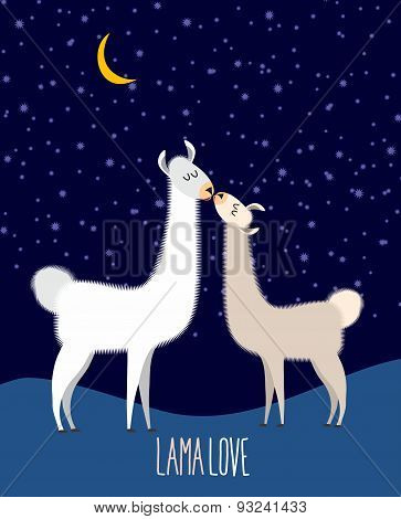 Llama Alpaca. Two cute llama Kiss at night under the starlit sky. Lama love. Vector illustration