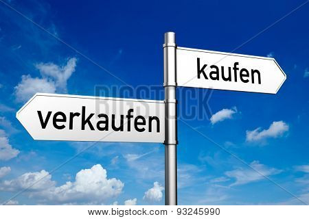 German words kaufen (buy) and verkaufen (sell) on a street sign (3D Rendering)