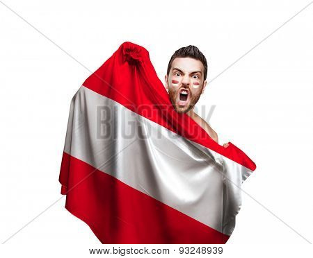 Fan holding the flag of Austria on white background