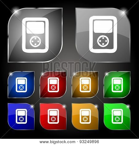 Tetris, Video Game Console Icon Sign. Set Of Ten Colorful Buttons With Glare. Vector