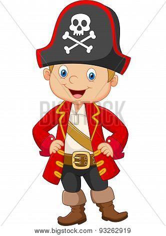 Cartoon little boy pirate captain