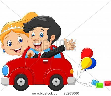 Cartoon Wedding invitation with funny bride and groom on car driving to their honeymoon