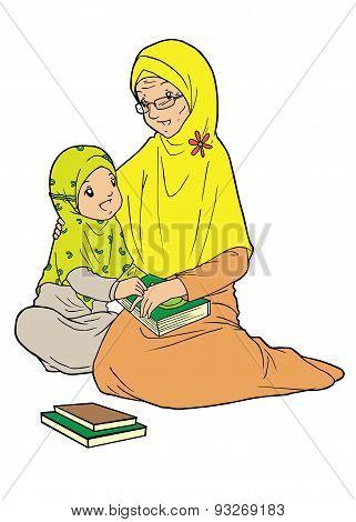 Old muslim woman and grand daughter