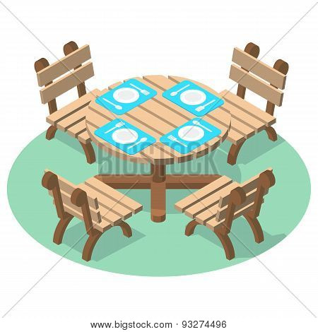 Isometric furniture - dinner table with cutlery and four chairs.