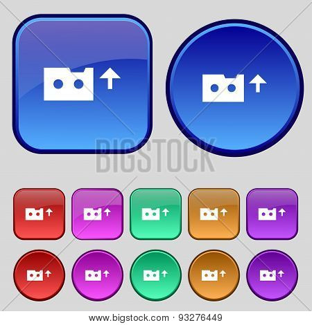 Audio Cassette Icon Sign. A Set Of Twelve Vintage Buttons For Your Design. Vector