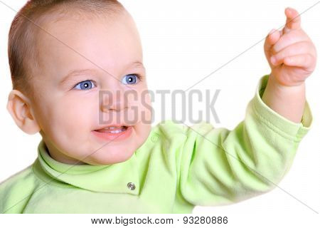 Portrait Of Nice Baby With Outstretched Hand Isolated