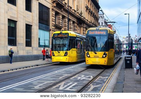 Yellow Tram In Manchester, Uk