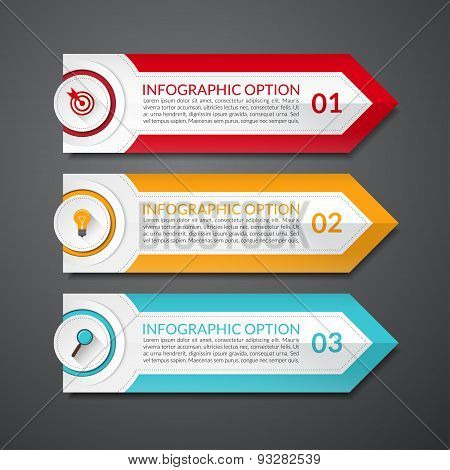 Infographic design arrow number options banner