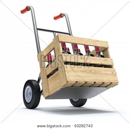 Hand truck with wine bottles