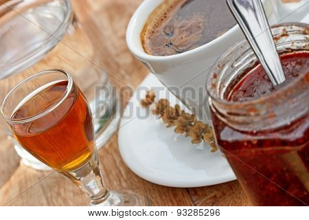 Plum brandy and coffee