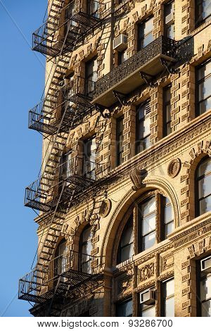 Chelsea Building With Wrought Iron Balcony And Fire Escape, Manhattan