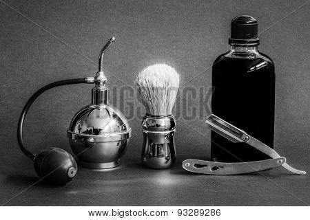 shaver,shaving brush,vaporizer and eau de cologne vintage poster