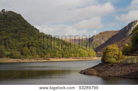 The Garreg Ddu Reservoir, Water Hills And Trees