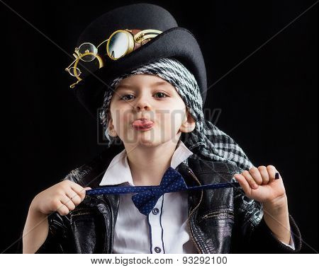 child closeup steampunk on black background black poster